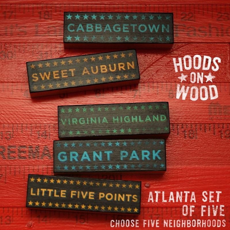 Atlanta Art -  Hoods on Wood - Five Art Block Set - Pick the Hoods - product images  of