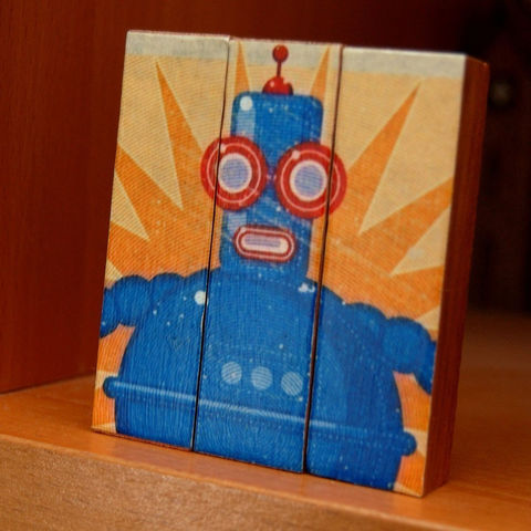 Boris,-,Mini,Triptych,Art,Illustration,Digital,wood,red,block,blue,robot,55838johnwgolden,paper,ink,glue,sealer