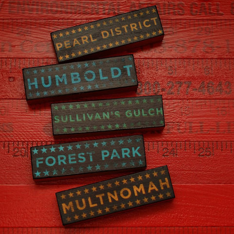 Portland,At,-,Hoods,on,Wood,Five,Art,Block,Set,Pick,Your,Illustration,wood,block,black,city,neighborhood,hoods_on_wood,oregon,portlandia,personalized_men,personalized_women,personalized_home,Portland_art,paper,ink,glue,sealer