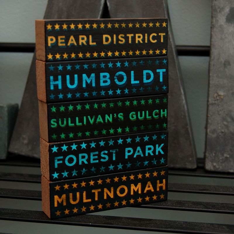 Portland At - Hoods on Wood - Five Art Block Set - Pick Your Hoods - product images  of
