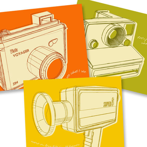 Camera,Art,-,Lunastrella,Cameras,Set,8x10,of,Three,Illustration,Digital,print,paper,cute,retro,vintage,lunastrella,dude,gift,orange,camera_art,8mm,polaroid,ink
