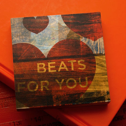 Valentines,Art,-,Beats,For,You,Block,4,in,x,Illustration,Digital,reproduction,wood,block,heart,love,valentine,valentines_day,hearts,valentines_men,valentines_women,beats_for_you,valentines_art,paper,ink,glue,sealer
