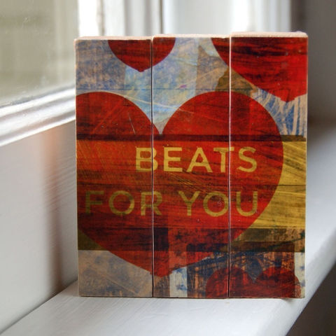 Beats,for,You,-,Mini,Triptych,Art,Illustration,wood,block,red,heart,yellow,collage,valentine,valentines,paper,ink,glue,sealer