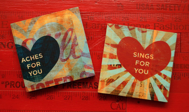 Heart Art Collage Series Art Blocks - Set of 2 - 4 in x 4 in - product images  of