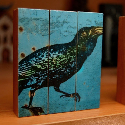 Bird,Art,-,Raven,No.,1,Mini,Triptych,Illustration,wood,block,blue,black,bird_art_raven,paper,ink,glue,sealer