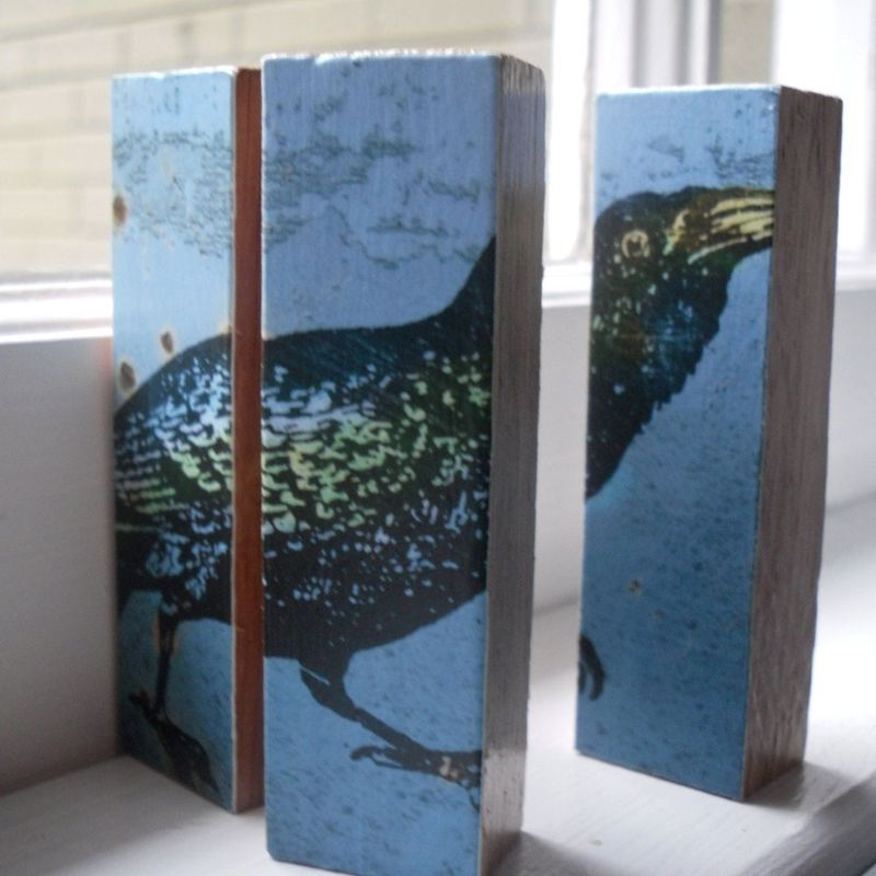 Bird Art - Raven No. 1 - Mini Triptych - product images  of