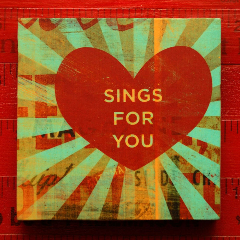 Heart Print - My Heart Sings For You  Art Block - 4 in x 4 in - product images  of