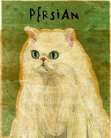 White,Persian,Print,8,in,x,10,Art,Illustration,digital,whimsical,cute,animals,animal,cat,persian,white,blue,paper,ink