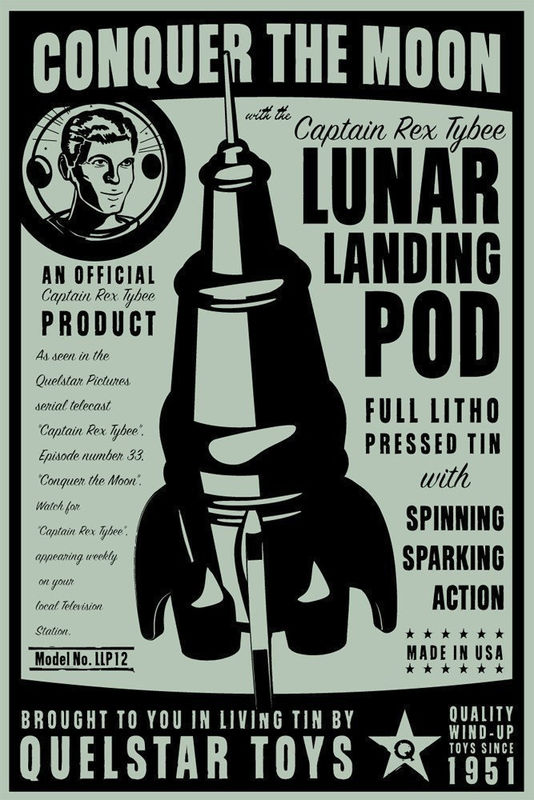 Lunar Landing Pod Tin Toy Retro Rocket Box Art Print 8 in x 12 in - product images