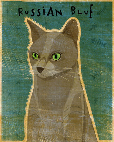 Russian,Blue,-,Cat,Art,8,in,x,10,Print,Pets,illustration,print,digital,whimsical,cute,animals,animal,cat,russian_blue,paper,ink