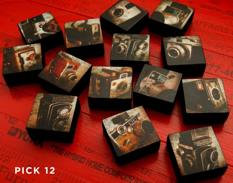 Vintage Camera - Camera Art PiccoloBlocco Cameras- Little Block - Art Blocks Set of 12 - Pick the Prints - 1.5 in x 1.5 in - product images  of
