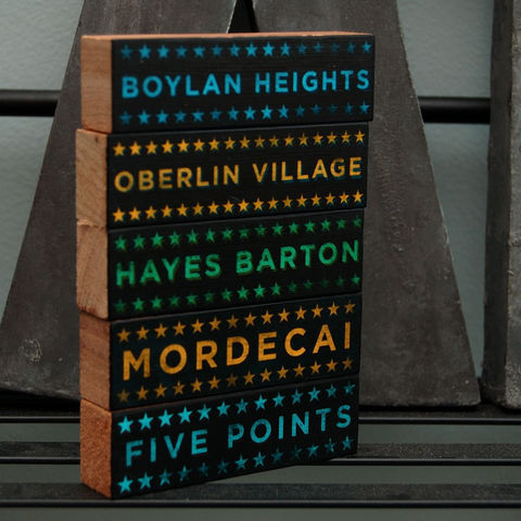 Raleigh,Hoods,on,Wood,-,Five,Art,Block,Set,Pick,the,Illustration,wood,block,black,gift,raleigh,north_carolina,mordecai,boylan_heights,hayes_barton,oberlin_heights,five_points,paper,ink,glue,sealer