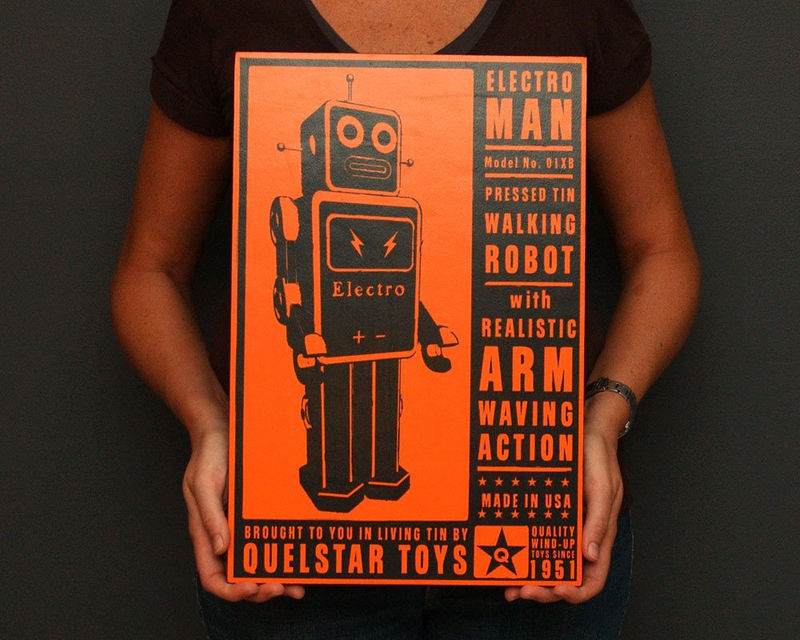 Robot Art - Quelstar Art Block - 12 in x 18 in - Pick Your Print for your Robot Nursery - product images  of