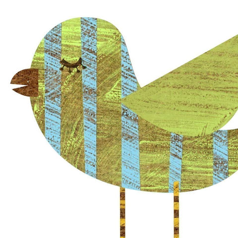 Whimsical,Bird,Art,-,Band,Legged,Blue,Green,Striped,Collage,Print,5,in,x,7,Illustration,digital,children,kids,green,blue,collage,Whimsical_Bird_Art,children_nursery,paper,computer