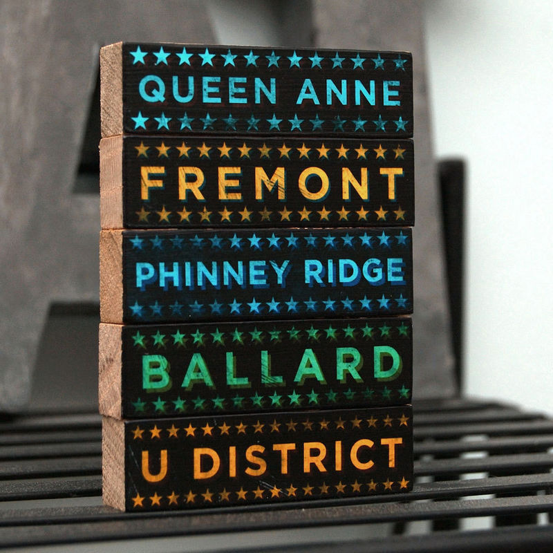 Seattle Art -  Hoods on Wood - Five Art Block Set - Pick Your Hoods - product images  of