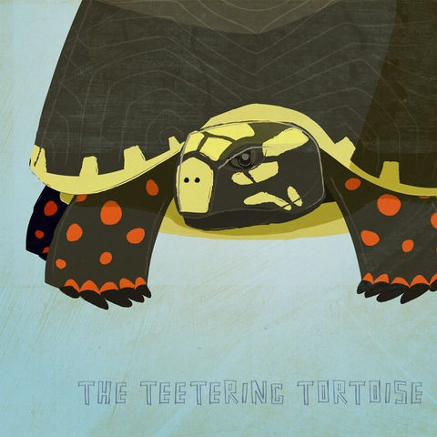 The,Teetering,Tortoise,Print,8.5,in,x,11,Children,Art,illustration,print,digital,animal,art,red_foot,tortoise,critter,paper