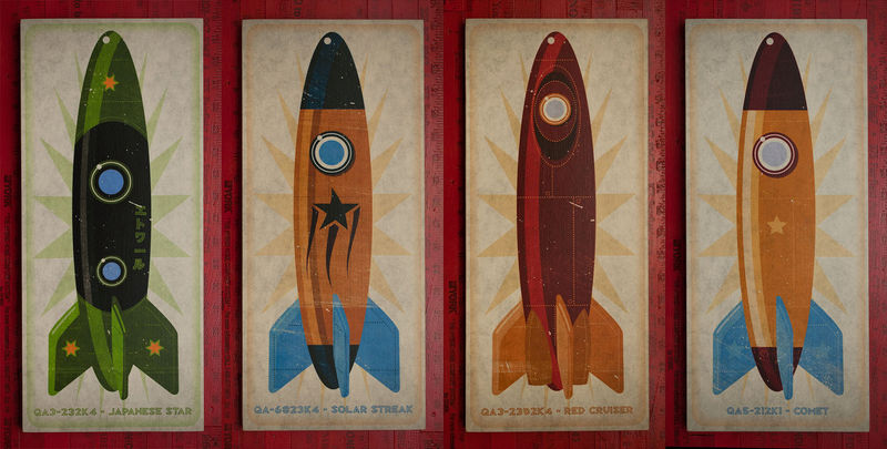 Rocket Art Series set of four Big Art Blocks - 8 in x 18 in Wall Art Blocks - product images  of
