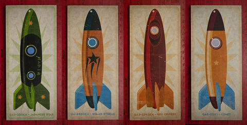Rocket,Art,Series,set,of,four,Big,Blocks,-,8,in,x,18,Wall,Illustration,wood,block,reproduction,print,rocket,space,space_art,rocket_art,Tin_toy,wall_art_blocks,paper,ink,glue,sealer