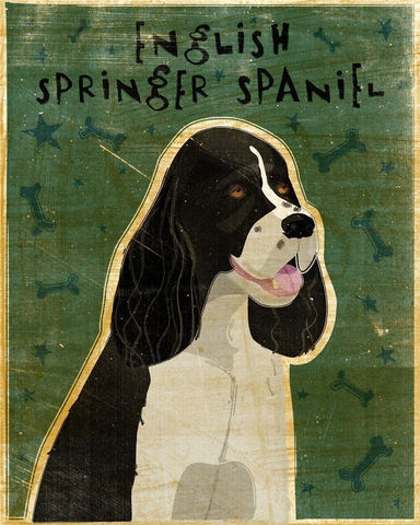 English,Springer,Spaniel,Black,Print,8,x,10,Art,Illustration,digital,whimsical,cute,dog,animals,animal,springer,spaniel,black,paper,ink