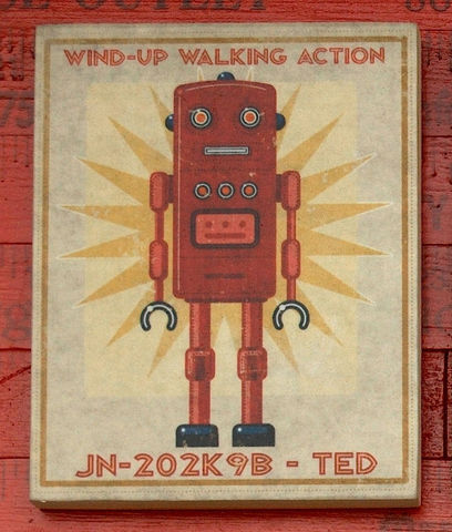 Retro,Robot,Art,-,Series,Block,8,in,x,10,Illustration,Digital,john_w_golden,illustration,digital,print,block,sci_fi,science_fiction,set,Retro_robot_art,paper,computer,wood,sealer