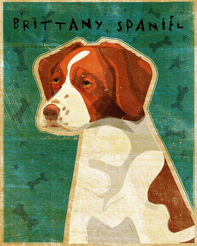 Brittany,Spaniel,Print,8,x,10,Art,Illustration,digital,whimsical,cute,dog,animals,animal,brittany,spaniel,paper,ink