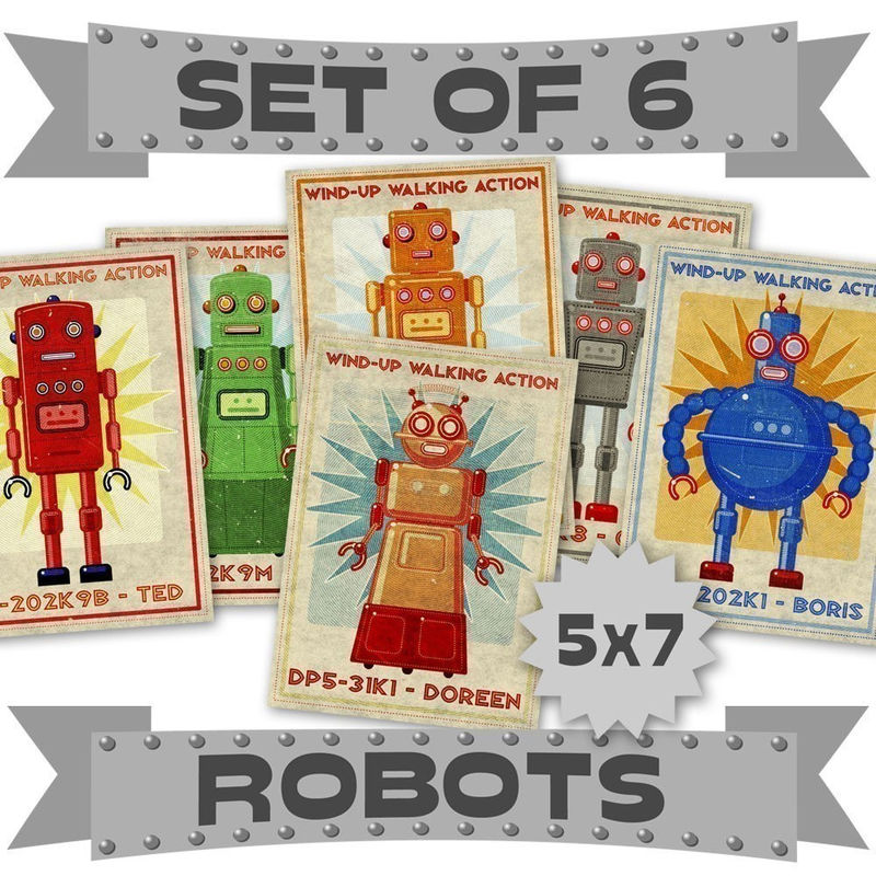 Retro Robot Art Prints - 5 in x 7 in - Set of 6 Robot Illustrations - product images  of