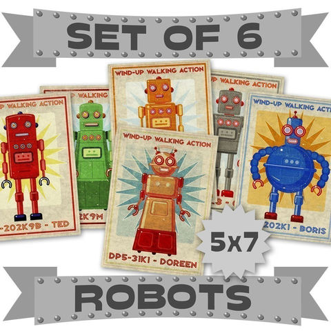 Retro,Robot,Art,Prints,-,5,in,x,7,Set,of,6,Illustrations,Illustration,Print,digital,please,john_w_golden,science_fiction,retro_robot_art,prints,paper,computer