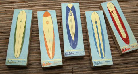 Surf,Art,-,Longboard,2,in,x,6,Blocks,Set,of,Five,Illustration,Digital,wood,reproduction,print,mounted,art_box,wall_decor,surf_art,longboard,paper,ink,glue,sealer