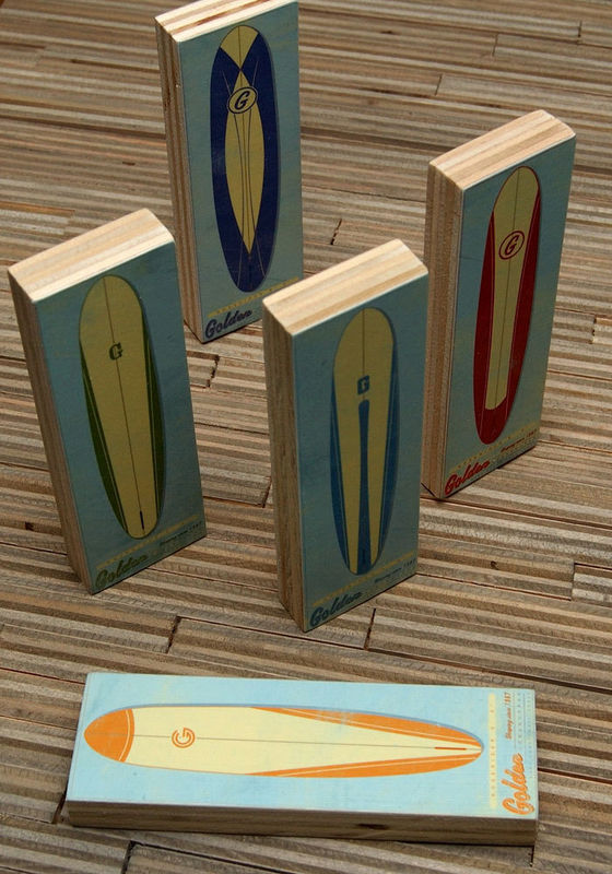 Surf Art - Longboard 2 in x 6 in Art Blocks Set of Five - product images  of