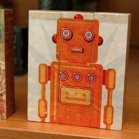 Stan,Jr.,-,Mini,Triptych,Art,Illustration,Digital,wood,block,red,yellow,robot,paper,ink,glue,sealer