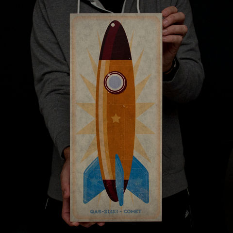 Rocket,Art,Series,Big,Block,-,8,in,x,18,Illustration,wood,block,reproduction,print,rocket,space,space_art,rocket_art,Tin_toy,paper,ink,glue,sealer
