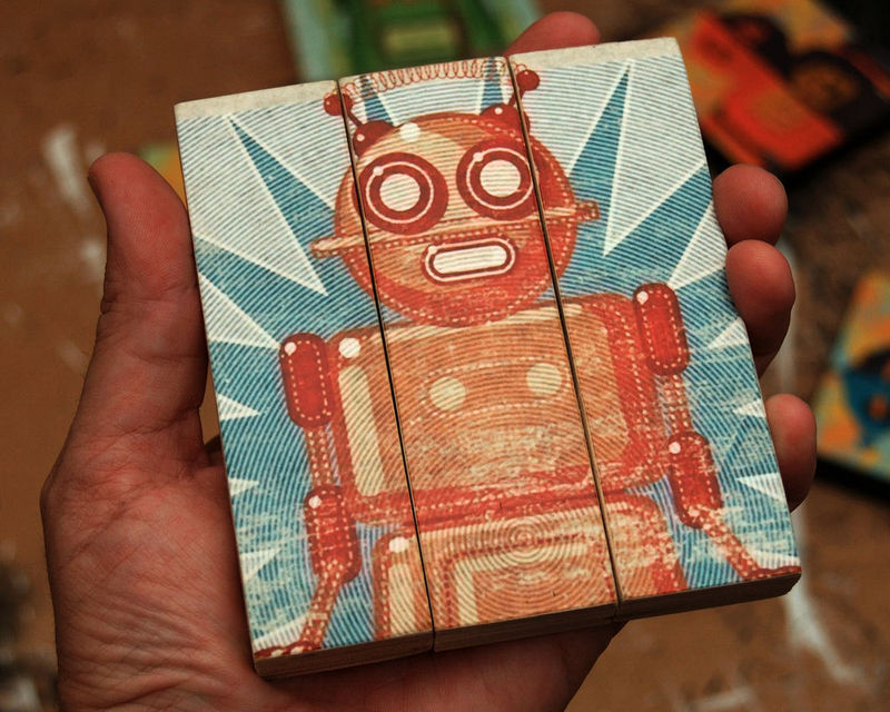 Retro Robot Doreen Medium Art Block Triptych - product images  of