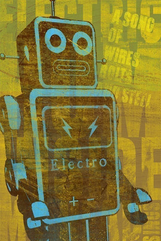 Robot,Wall,Art,-,A,Song,of,Wires,6.67,in,x,10,Print,Illustration,painting,print,digital,kitsch,yellow,blue,brown,space,scifi,Robot_Wall_Art,paper,ink