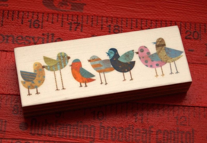Bird Artwork - Flock No. 1 Mini Bird Art Block - product images  of