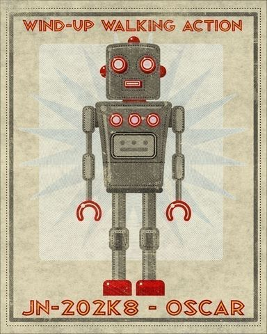 Retro,Robot,Oscar,Box,Art,Print,16,in,x,20,Illustration,digital,john_w_golden,science_fiction,gray,grey,red,oscar,retro_robot,paper,computer