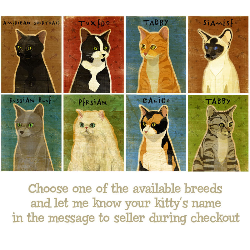 Cat Artwork - Personalize Your Kitty - Cat Art Print - 11 in x 14 in - Not Portrait - product images  of