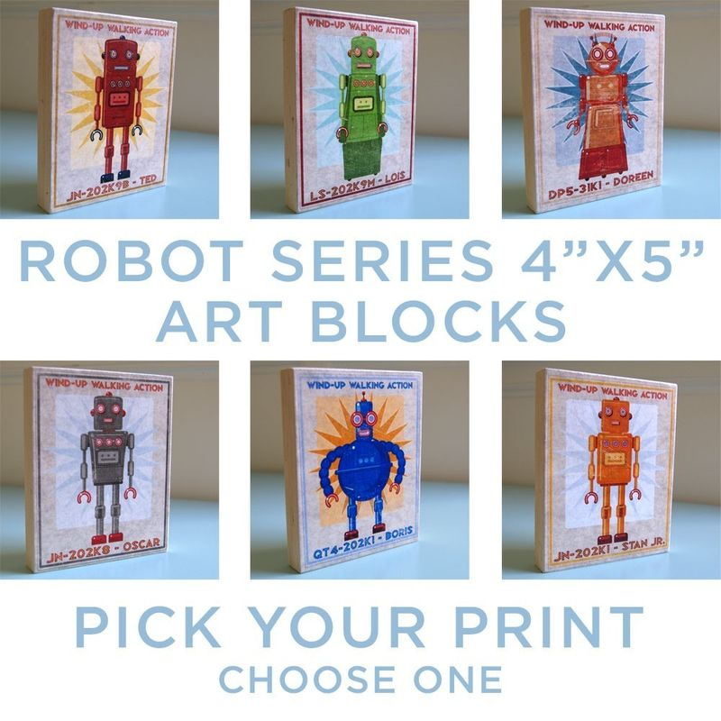 Robot Art -Tin Toy Box Art Block - Pick the Print - 4 in x 5 in - product images  of