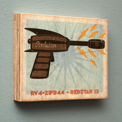 Raygun,Art,Block,-,Pick,the,print,4,in,x,5,Illustration,Digital,john_w_golden,illustration,digital,block,tin_toy,space,sci_fi,paper,computer,wood,sealer