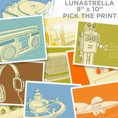 Lunastrella,8,in,x10,Pick,Your,Print,Art,Illustration,Digital,print,paper,cute,retro,vintage,lunastrella,dad,dude,fathers_day,gift,orange,ink