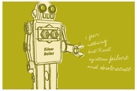 Lunastrella,Robot,Print,8,in,x,12,Art,Illustration,digital,robot,green,kitsch,olive,computer,paper