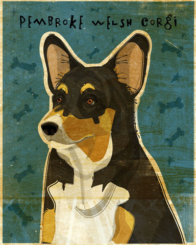 Pembroke,Welsh,Corgi,-,Tri-Color,Dog,Art,Print,8,in,x,10,Illustration,whimsical,cute,animals,dog_art,pet,puppy,Pembroke_Welsh,tri_color,corgi,print,paper,ink