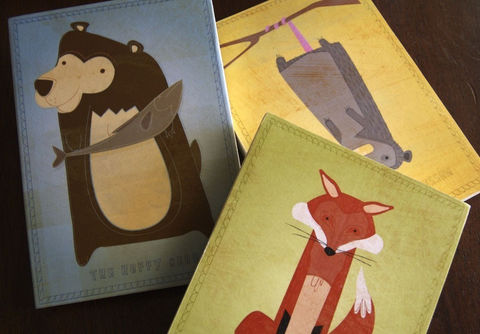 Nursery,Art,-,Critter,Series,Block,Pick,the,Print,5,in,x,7,Illustration,Digital,reproduction,wood,block,woodland,critter,creature,children,Nursery_art,paper,ink,glue,sealer