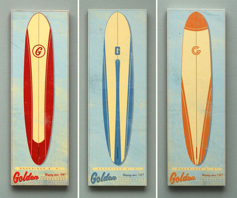 Surf,Art,Longboard,Wall,Box,-,Pick,the,Board,6,in,x,18,Illustration,Digital,wood,reproduction,print,mounted,Surf_art_longboard,paper,ink,glue,sealer