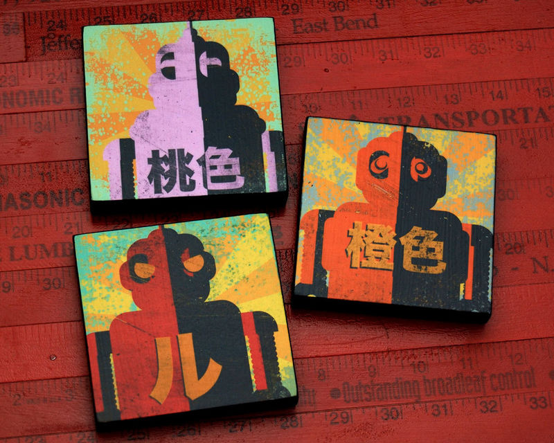 Retro Robot - Minibot Series Art Blocks Set Number 2- Set of 3 - 4 in x 4 in - product images  of