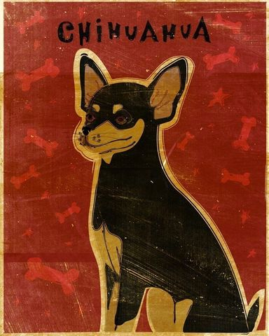 Black,Tan,Chihuahua,Print,8,x,10,Art,Illustration,digital,whimsical,cute,dog,animals,animal,chihuahua,paper,ink
