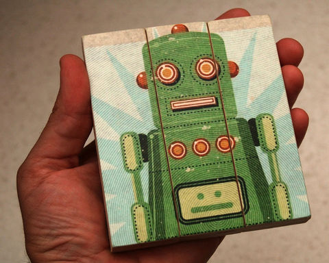 Retro,Robot,Lois,Medium,Art,Block,Triptych,Illustration,wood,block,triptych,Retro_Robot,paper,ink,glue,sealer
