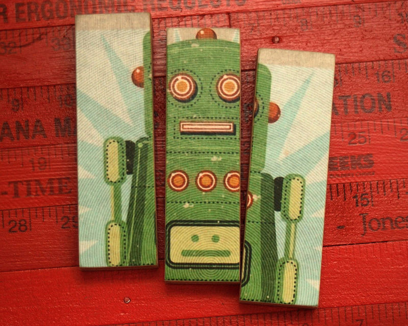 Retro Robot Lois Medium Art Block Triptych - product images  of