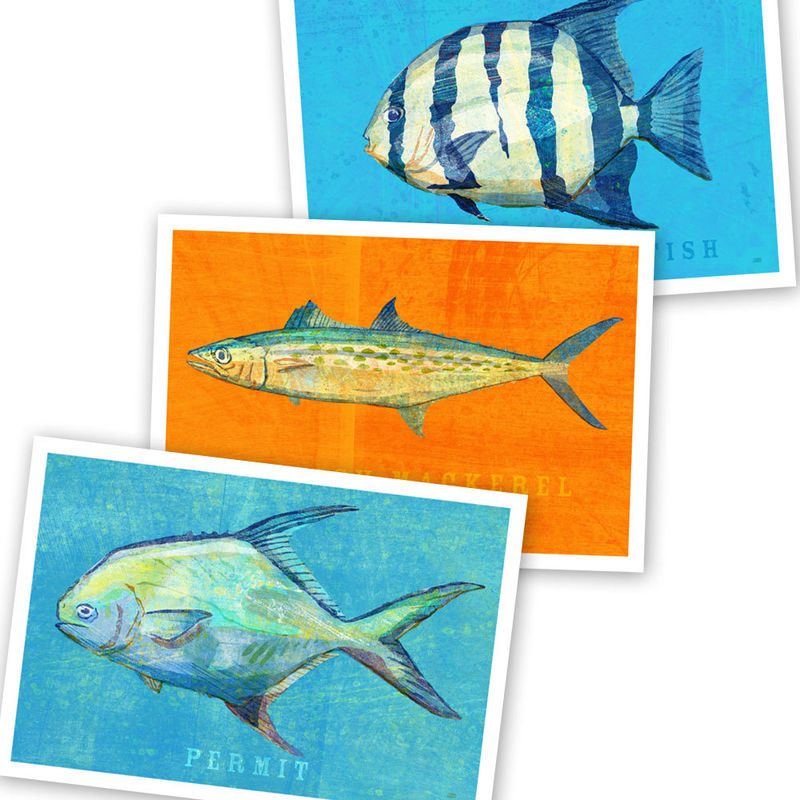 Saltwater Fish Art - 3 Little Fishies Set Number 3 - Set of 3 Prints 4 in x 6 in - product images  of
