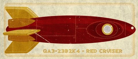 Rocket,Art,-,Red,Cruiser,Tin,Toy,Box,Print,7.78,in,x,18,Illustration,toddler,illustration,print,digital,john_w_golden,children,yellow,sci_fi,space,red,retro,rocket_art,paper,computer