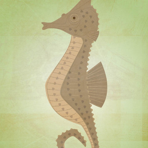 The,Patient,Seahorse,Children,Art,Print,illustration,print,digital,critter,johnwgolden,art,ocean,sea,seahorse,fish,nursery,green,brown,paper,ink